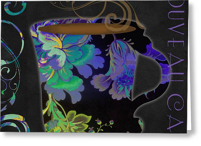Nouveau Cafe Cool Greeting Card by Mindy Sommers