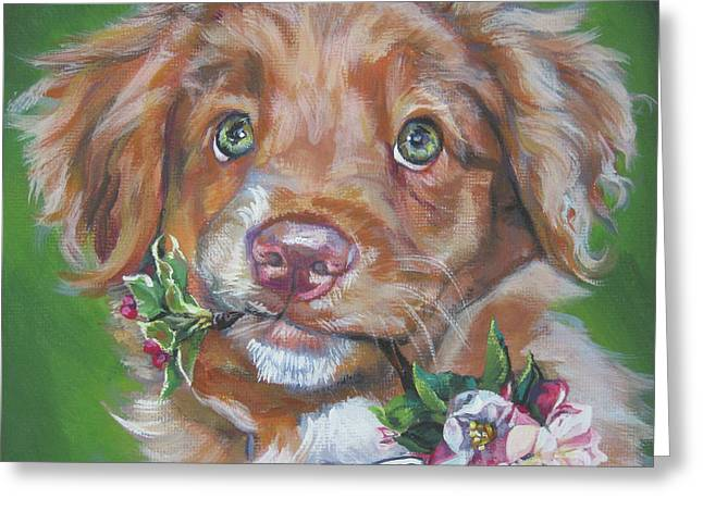 Novae Greeting Cards - Nova Scotia duck Tolling Retriever puppy Greeting Card by Lee Ann Shepard