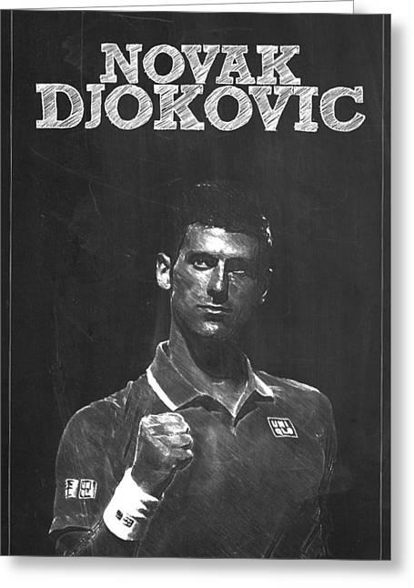 Federer Art Greeting Cards - Novak Djokovic Greeting Card by Semih Yurdabak