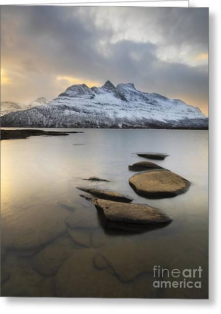 Skanland Greeting Cards - Novatinden Mountain And Skoddeberg Lake Greeting Card by Arild Heitmann
