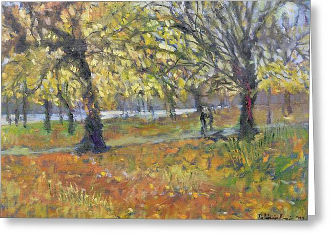 Fall Grass Paintings Greeting Cards - November in Hyde Park Greeting Card by Patricia Espir