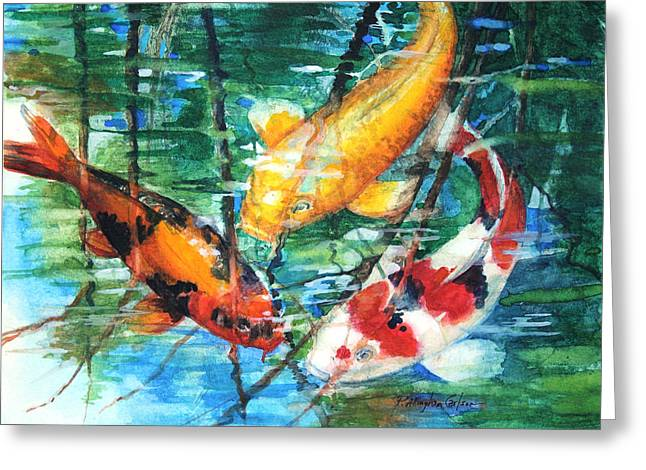 Koi Greeting Cards - November Koi Greeting Card by Patricia Allingham Carlson