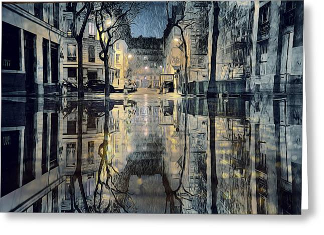 Famous Bridge Greeting Cards - November Rain in Paris Greeting Card by Evie Carrier