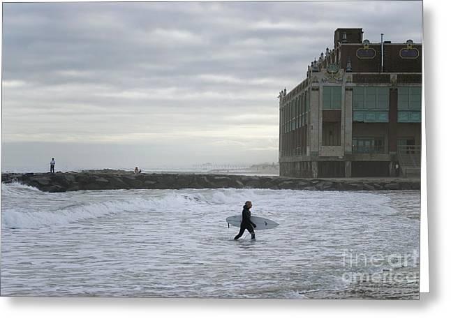 Andrew Kazmierski Greeting Cards - November Surf Asbury Park NJ Greeting Card by Andrew Kazmierski