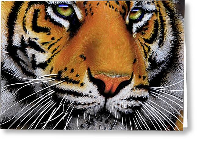 Wild Cats Paintings Greeting Cards - November Tiger Greeting Card by Jurek Zamoyski