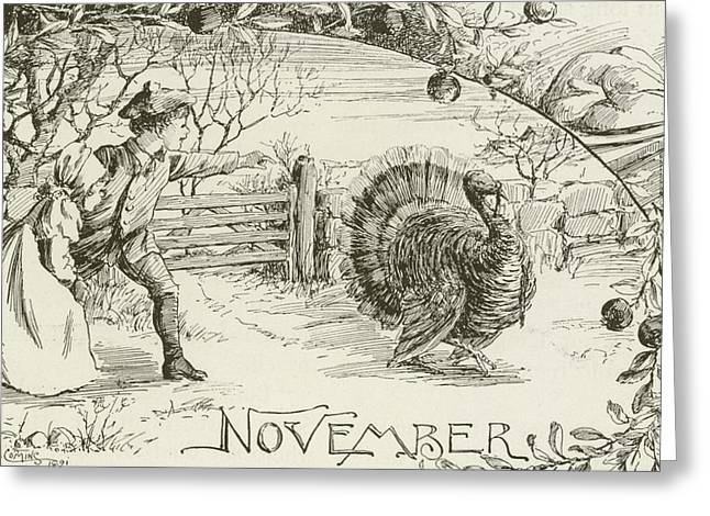 November   Vintage Thanksgiving Card Greeting Card by American School
