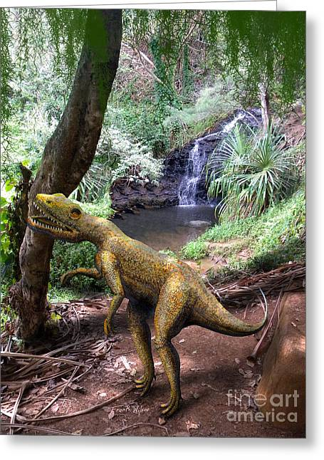 Dinosaurs Greeting Cards - Novenator Near Waterfalls Greeting Card by Frank Wilson