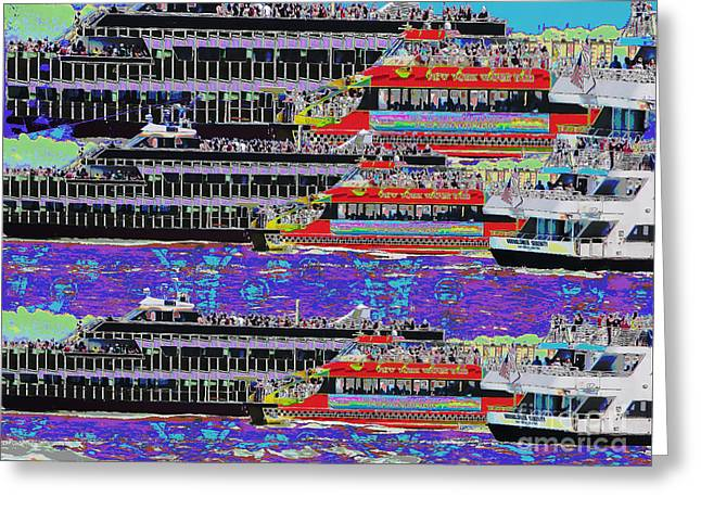 Abstract Digital Mixed Media Greeting Cards - NOVINO Sale Festive FineArt digital painting of Cruize Boats to NewYork neighbouring islands by Navi Greeting Card by Navin Joshi
