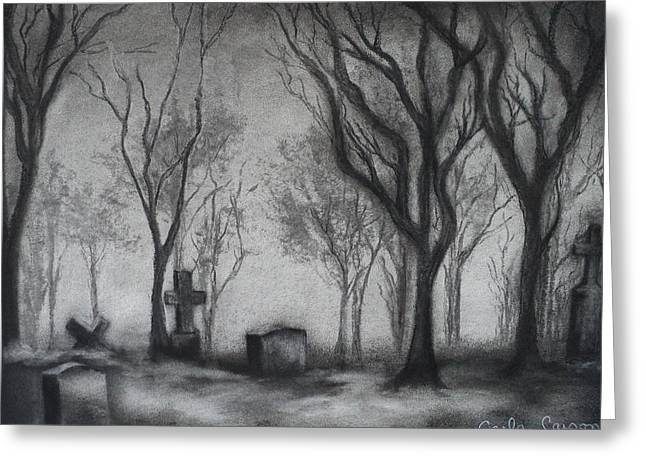 Fog Drawings Greeting Cards - Now I lay me down to sleep Greeting Card by Carla Carson