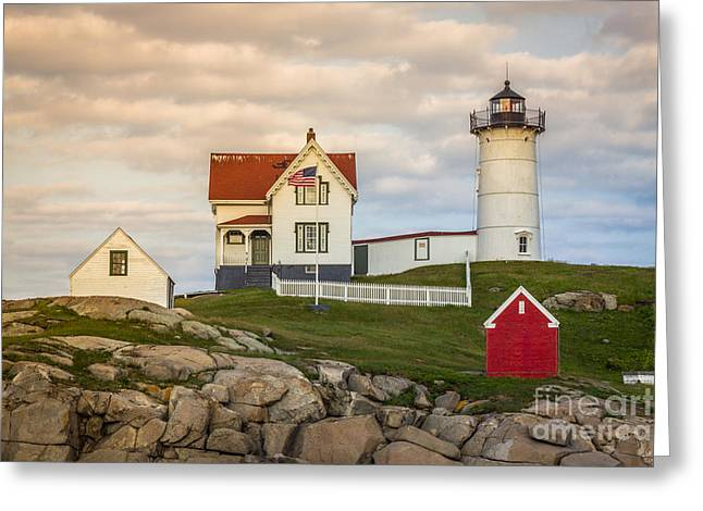 Cape Neddick Lighthouse Greeting Cards - Nubble Light at Dusk Greeting Card by Sean Hardies