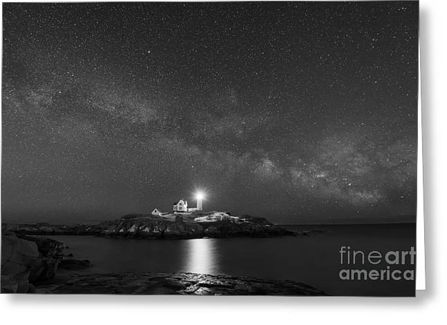 Cape Neddick Greeting Cards - Nubble Light At Night BW Greeting Card by Michael Ver Sprill