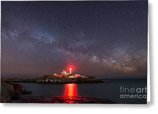 Cape Neddick Lighthouse Greeting Cards - Nubble Light At Night Greeting Card by Michael Ver Sprill