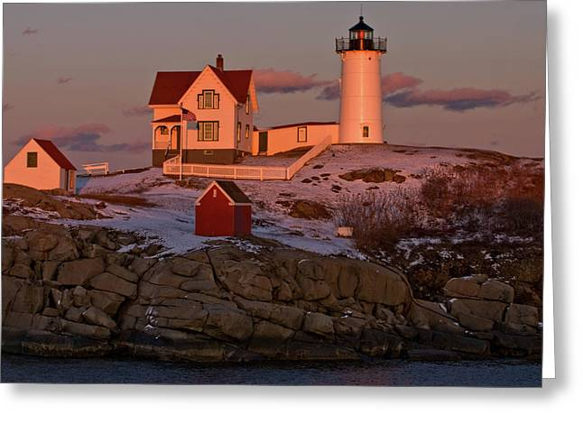 Cape Neddick Lighthouse Greeting Cards - Nubble Light at Sunset Greeting Card by Paul Mangold
