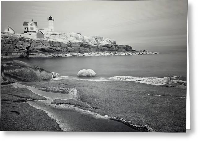 Sohier Park Greeting Cards - Nubble Light Black and White Greeting Card by Luke Moore