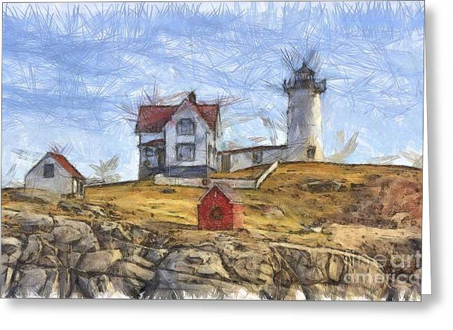 Nubble Light Cape Neddick Lighthouse Sohier Park York Maine Pencil Greeting Card by Edward Fielding