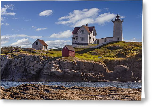 Maine Shore Mixed Media Greeting Cards - Nubble Light Greeting Card by Capt Gerry Hare