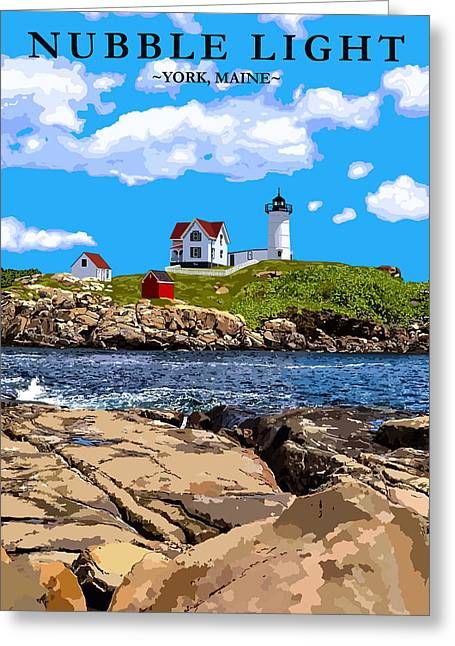 Sohier Park Greeting Cards - Nubble Light Greeting Card by Danielle Lehoux