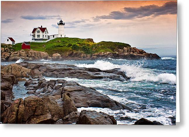 New England Lighthouse Greeting Cards - Nubble Light Greeting Card by Fred LeBlanc