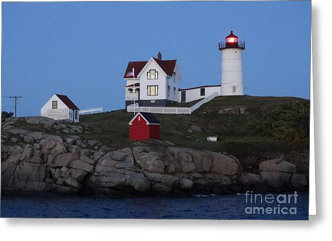 Nubble Light House At Night Greeting Card by Gina Sullivan