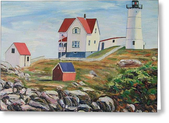 Nubble Lighthouse Paintings Greeting Cards - Nubble Light House Maine Greeting Card by Richard Nowak