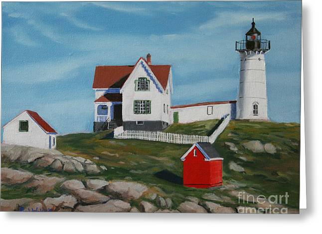 Nubble Light House Greeting Card by PAUL WALSH
