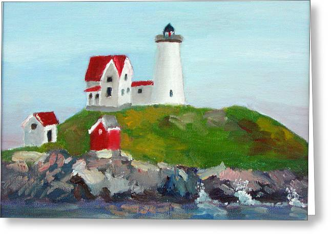 Nubble Lighthouse Paintings Greeting Cards - Nubble Light II Greeting Card by Dillard Adams