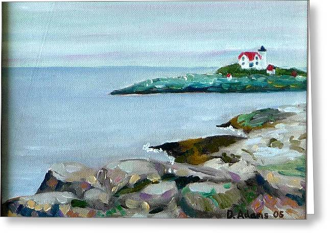 Nubble Lighthouse Paintings Greeting Cards - Nubble Light III Greeting Card by Dillard Adams