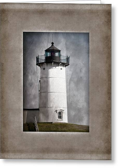 Light Blue Gray Greeting Cards - Nubble Light Maine Greeting Card by Carol Leigh