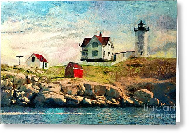 Cape Neddick Lighthouse Greeting Cards - Nubble light - painted Greeting Card by Gene Healy