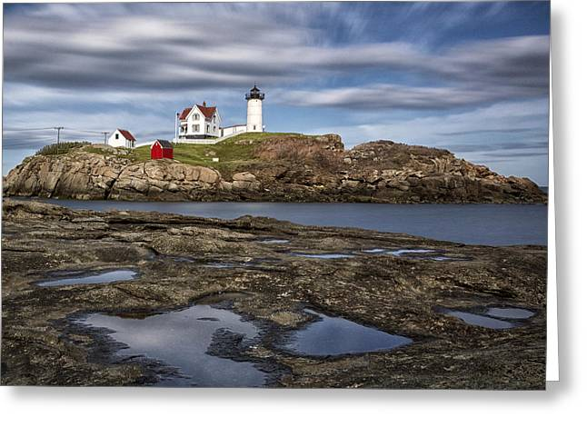Maine Lighthouses Greeting Cards - Nubble Light Greeting Card by Robert Fawcett