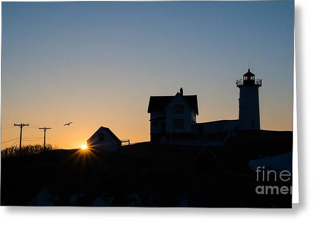 Cape Neddick Greeting Cards - Nubble Light Silhouette  Greeting Card by Michael Ver Sprill