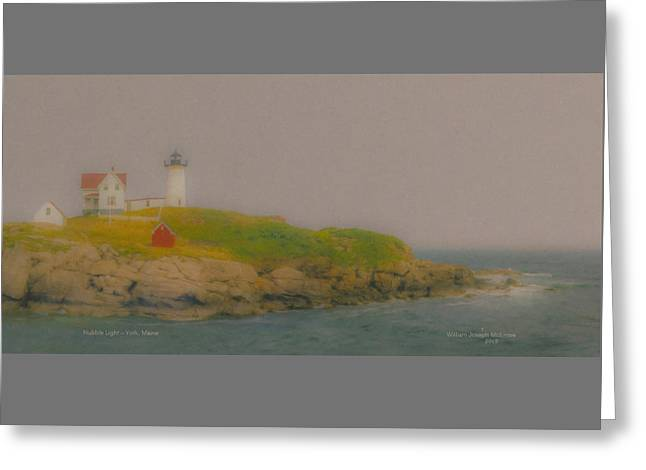 Nubble Lighthouse Paintings Greeting Cards - Nubble Light York Maine Greeting Card by Bill McEntee
