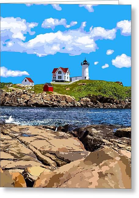 Cape Neddick Lighthouse Greeting Cards - Nubble Light - York, Maine Greeting Card by Danielle Lehoux