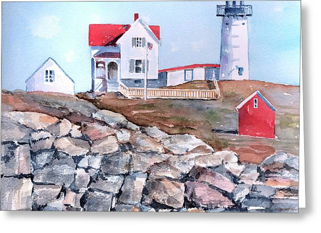 Nubble Lighthouse - Maine Greeting Card by Arline Wagner