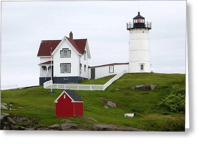 Cape Neddick Lighthouse Greeting Cards - Nubble Lighthouse 2 Greeting Card by Cindy Kellogg