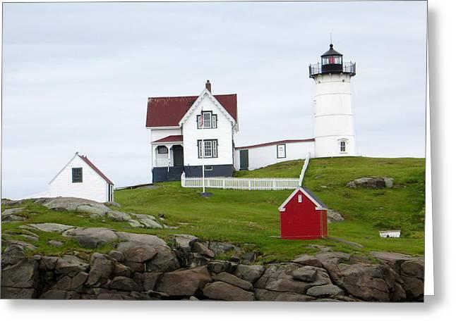 Cape Neddick Lighthouse Greeting Cards - Nubble Lighthouse Greeting Card by Cindy Kellogg