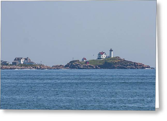 Nubble Lighthouse From Long Sands Beach Greeting Card by Brian MacLean