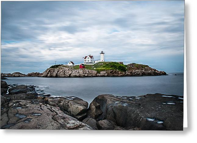Maine Beach Greeting Cards - Nubble Lighthouse Maine Greeting Card by Megan Zopf