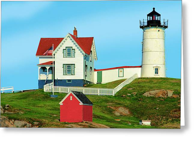 Cape Neddick Lighthouse Greeting Cards - Nubble Lighthouse Greeting Card by Michael Ciskowski