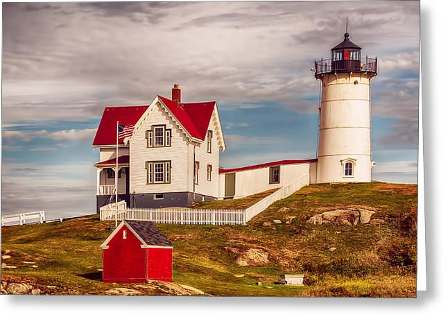 Maine Clouds Greeting Cards - Nubble Lighthouse Greeting Card by Mick Burkey