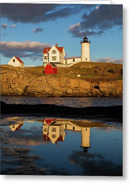 Nubble Lighthouse Greeting Card by Mircea Costina Photography