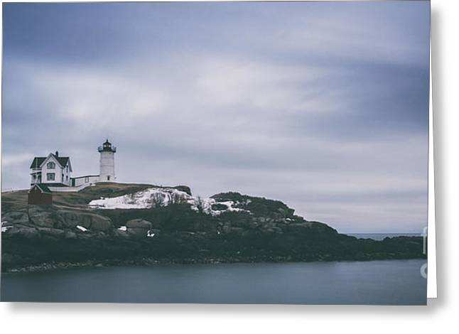 Cape Neddick Greeting Cards - Nubble Lighthouse Overcast  Greeting Card by Michael Ver Sprill