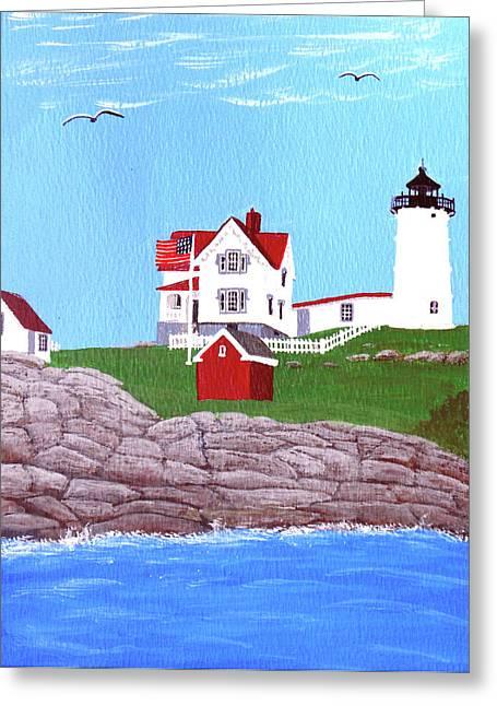 Nubble Lighthouse Paintings Greeting Cards - Nubble Lighthouse Painting Greeting Card by Frederic Kohli