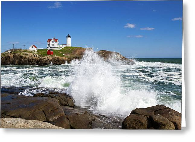 Cape Neddick Lighthouse Greeting Cards - Nubble Lighthouse Greeting Card by Robert Clifford