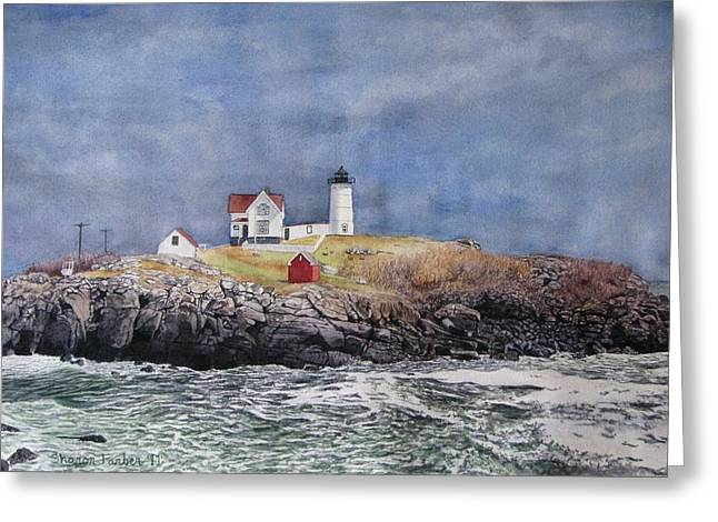 Nubble Lighthouse Paintings Greeting Cards - Nubble Lighthouse Greeting Card by Sharon Farber