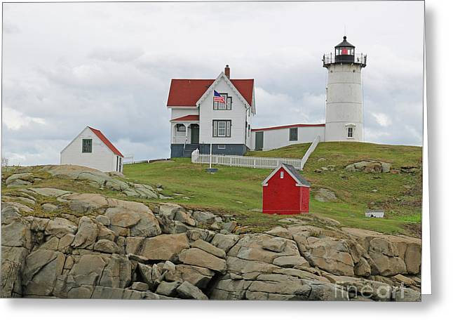 Cape Neddick Greeting Cards - Nubble Lighthouse Greeting Card by Steve  Gass