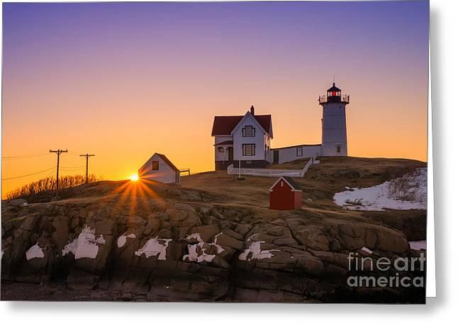 Cape Neddick Greeting Cards - Nubble Lighthouse Sunburst Greeting Card by Michael Ver Sprill
