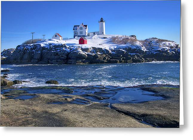 Nubble Lighthouse -winter 2015 Greeting Card by Steven Ralser