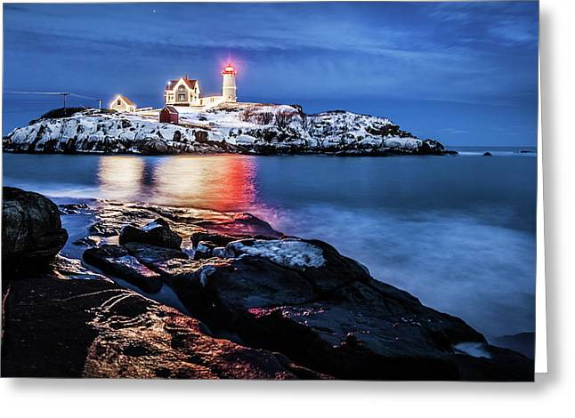 Nubble Lights Greeting Card by Robert Clifford
