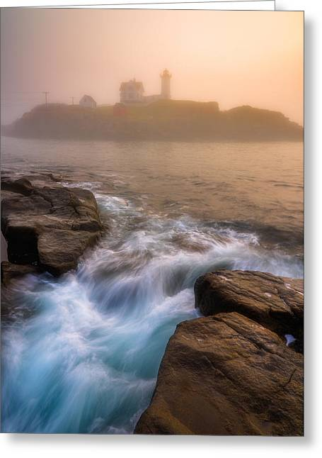 Nubble Morning Fog Greeting Card by Darren White